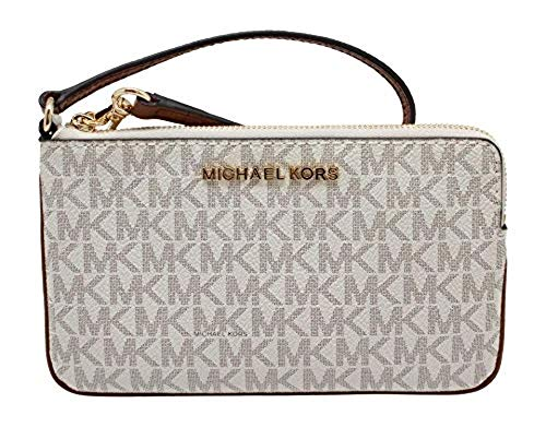 "Size Measurements Approximately 7.5""(L) X 4.5""(H) X 0.5""(D) w/ 6.5"" strap drop Mk Logo PVC & Leather, Gold tone hardware Top zipper closures, MK Medallion logo on front Interior: 3 Credit Card Slots MK signature fabric lining"