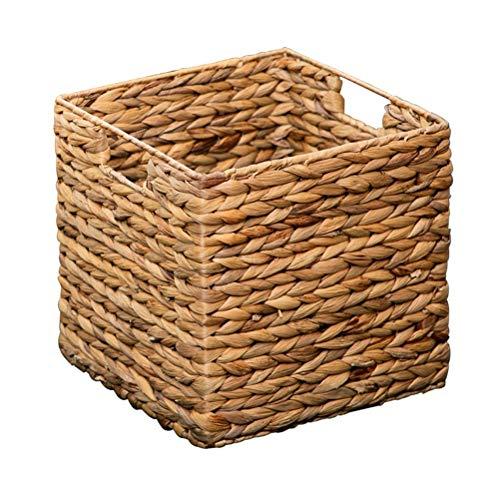 Canasta de almacenamiento tejida a mano, canasta de ratán de gran capacidad, canasta para el hogar para refrigerios y desechos tejidos de cola de tigre, se pueden almacenar: bocadillos, libros, máscar