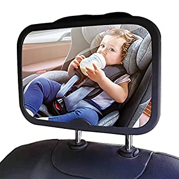 Funbliss Baby Mirror for Car Safety Car Seat Mirror for Baby Rear Facing with Anti-vibration Shatterproof Crash Tested and Certified,Black