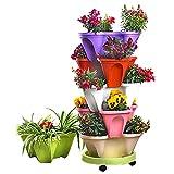 ZYGF Macetas apilables para jardín, apilables de 6 niveles, para interiores y exteriores, verticales de riego por niveles desde arriba hacia abajo para verduras y flores