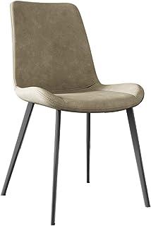 ZCXBHD PU sillas Cuero restauración Personalidad Contador Cocina época Sillas Piernas Salón con Negro Metal Asiento y el Respaldo (Color : Skin Color)