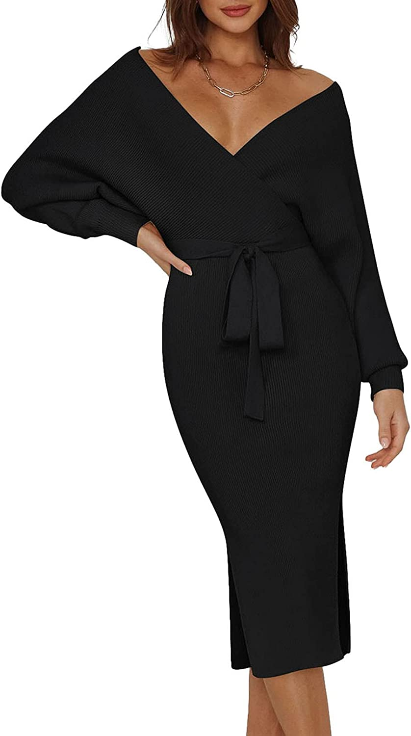 Pink Queen Womens V Neck Sweater Wrap Dresses Batwing Sleeve Sexy Backless Slit Maxi Knit Dress with Belt