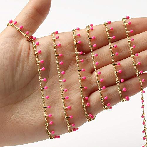 SS01 - Cadena de rosario de acero inoxidable de 1 m, color dorado, para pulseras, tobilleras, accesorios hechos a mano, 1 m, YC0407 (color fucsia)