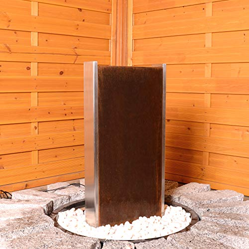 Köhko® Wasserwand Bolivien mit LED-Beleuchtung Höhe 79 cm Gartenbrunnen 31002 aus Cortenstahl/Edelstahl