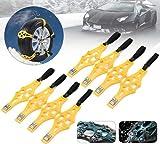 TOTMOX - Cadenas antideslizantes para neumáticos de nieve de 165 a 275 mm, correa de nieve para camiones todoterreno, vehículos con guantes de pala de nieve, juegos de 8
