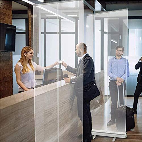 HYDT Store en bambou Nieschutzbildschirm für Worktop Receptionist, Klare PVC-Trennwand Pop Up Roller Banner Einziehbar zum Spuckniesen Partition (Size : 60×160cm/23.6×62.9in)
