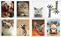 犬ペット猫キリン動物 ポスター 8 x 10 Inches (約20 x 25 cm) 8個セット 壁掛け ソファの背景絵画