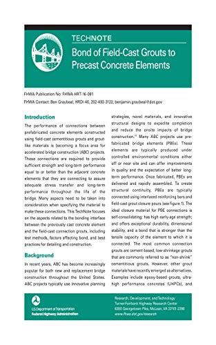 Bond of Field-Cast Grouts to Precast Concrete Elements (FHWA-HRT-16-081)
