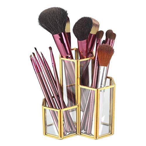 Hamosky Gouden Glazen Pennenhouder 3 Compartimenten Pen- en Potloodhouders Bekers Visitekaarthouder Doos Kantoorbenodigdheden Desktop Organizer Opslag