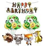 yuechen Selva Decoraciones Cumpleaños de Fiesta, Globo de Fiesta de Feliz cumpleaños Safari con Globos de látex, Globo de Animales del Bosque, Cubierta de Mesa Salvaje para niño