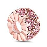 GNOCE Abalorio espaciador de plata de ley 'Pink Sweet Love' con forma de corazón de oro rosa y circonita cúbica para todos los dijes