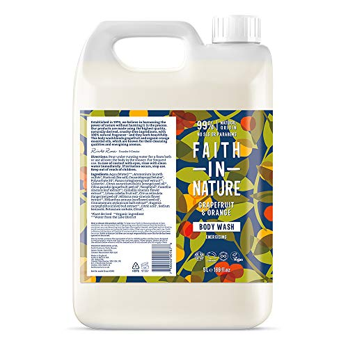 Faith In Nature Natural Grapefruit & Orange Body Wash, Invigorating, Vegan & Cruelty Free, Paraben and SLS Free, For Normal to Oily Hair, 5 Litre Refill Pack