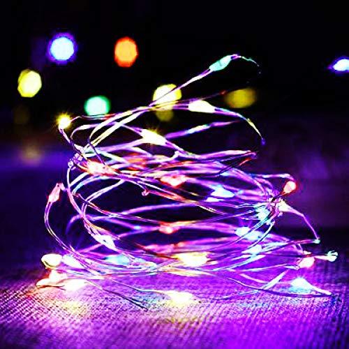 YQHWLKJ 2M 5M 10M Luces de noche de cobre LED Rgb Mesita de noche Decoración para el hogar Luz de cadena de hadas Lámpara de guirnalda a batería para el banquete de boda