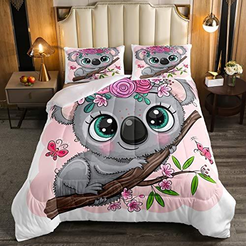 Erosebridal Cartoon Koala Comforter Set Twin Size, Cute Koala Bedding Set, Cherry Blossom Rose Quilted Duvet for Kids Baby Toddler, Nursery Quilt Set, Butterfly Branch Leaves Duvet Set