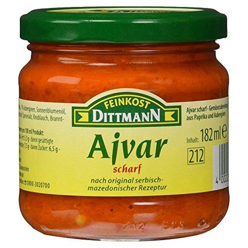 Dittmann Ajvar scharf, Gemüsezubereitung aus Paprika und Auberginen nach original serbisch-mazedonischer Rezeptur, 6er Pack (6 x 182 ml)
