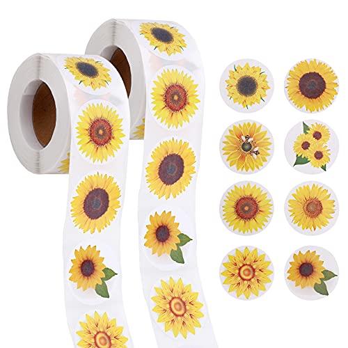 1000 Piezas Pegatinas de Pared Girasol Decorativos Flores de Jardín Adhesivos Pegatinas De Hogar Pared Habitación Infantiles Dormitorio Salón(3.8cm/1.5inch)