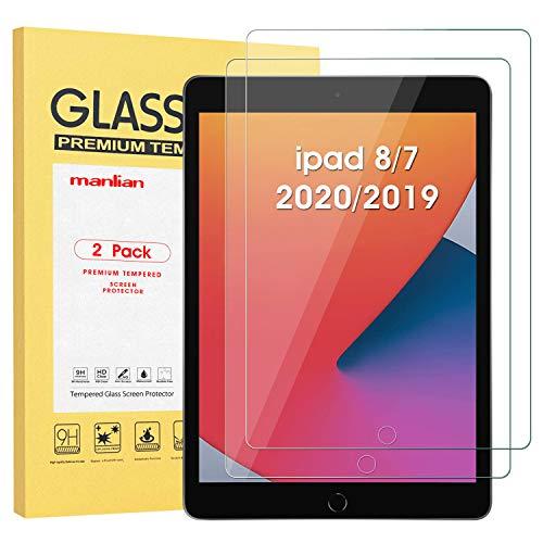 Manlian Protection Écran Compatible Apple iPad 8/7 (10,2-Pouces, 2020/2019, 8e/7e Génération), (Lot de 2) Film de Protection en Verre Trempé.