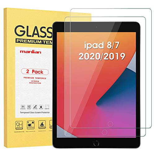Manlian Screen Protector for New ipad 8/7 (10.2-Inch, 2020/2019 Model, 8th/7th Generation), (2-pack) with [HD-clear] [Anti-Scratch] [Anti-Fingerprint] [9H Hardness] Premium Tempered Glass Film.