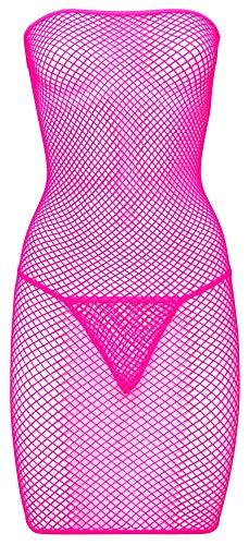 Orion Netzkleid - sexy Minikleid-Set, transparenter Netz-Look, durchsichtig, erotischer String, für Damen, in Pink (Rosa) (S-L)