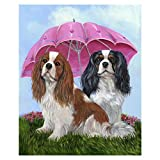 SINACO 5D Diamond Painting Kit for Adults, Full Round Drill DIY Diamond Painting by Numbers Diamond Kit for Home Wall Decor Dog Under The Umbrella 11.8 x 15.7in by