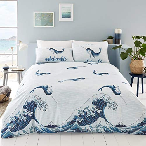 GC Narwhal Blue Whales Pattern Luxurious Modern Stylish Duvet Cover Sets Quilt Cover Sets Reversible Bedding Sets (Single)