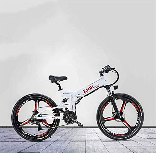 Fangfang Electric Bikes, Adult Electric Mountain Bike, 48V Lithium Battery, Aluminum Alloy Foldable Multi-Link Suspension, With GPS and Oil Disc Brake,E-Bike (Color : B)