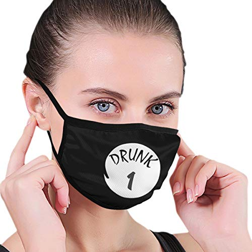 Reusable Drunk 1 Drunk 2 Up to Drunk 10 Irish Face Mouth Mask with Elastic Ear Loop Washable Face Cover Balaclave Black