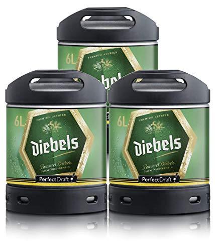 Bier PerfectDraft 3 x 6-Liter Fässer Bier. Zapfanlage für Zuhause. Inklusive 15euros Pfand. (Diebels)