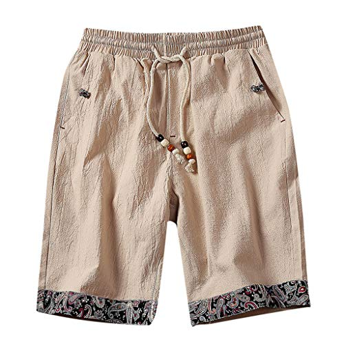 Bermudas Homme Été Pas Cher,Shorts Hommes Coton Lin Style Ethnique Casual Pantalons Court Couleur Unie Lâche Shorts de Plage