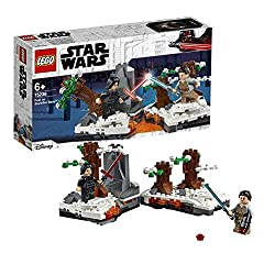 Features rotating bases for spinning Lightsaber duels and toppling trees, and a hinged design Knock down the Starkiller Base trees to reveal the hidden blaster Rotate the bases to send Rey and Kylo into a spinning Lightsaber battle Includes Rey and K...