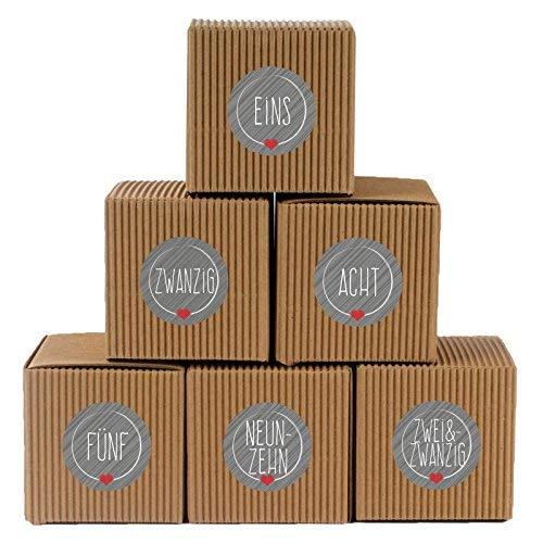 """Adventskalender Set aus 24 rustikalen Boxen und 24 weihnachtlichen Zahlenaufklebern """"Schick und Grau"""" zum Basteln und Befüllen"""