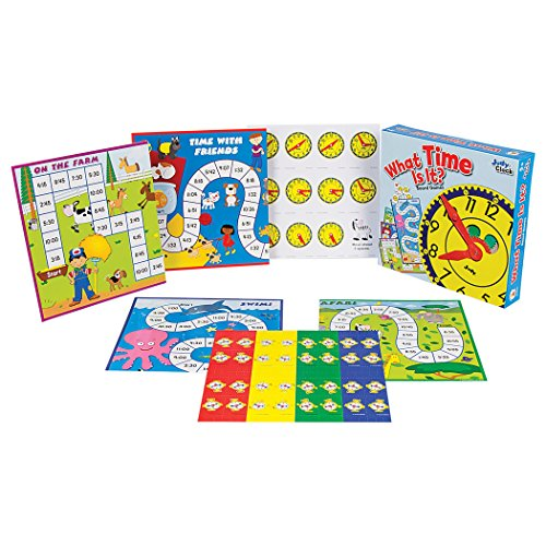 51bsQNltowL - Carson Dellosa What Time Is It? Judy Clock Board Game Set—On The Farm, Time With Friends, Swim, Safari Time-Telling Board Games With Game Cards and Player Pieces, 2-4 Players, Ages 5+