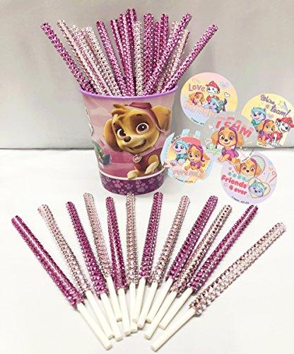 "Paw Patrol ""Skye"" Inspired Girl's Party Favor Bling Cake Pop Sticks - Light Pink & Hot Pink Glam for Lollipops, Cake Pops & All Things Party! Plus Bonus Birthday Child Keepsake Cup & Sticker Favors!"