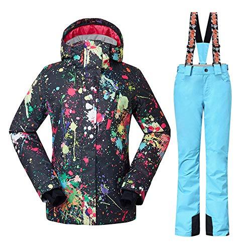 YEEFINE - chamarra de esquí para mujer, impermeable, con pantalones y chamarra de esquí de colores