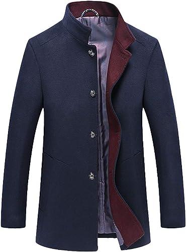 Qiusa Manteaux de Laine pour Hommes Vestes Hiver Affaires Trench-Coat Long Manteau (Couleuré   Navy, Taille   XS)