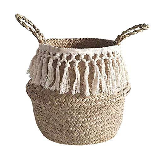 Urisgo Stroh gewebte Wäschekorb, Fischkorb Picknickkorb Spielzeugkasten, Faltbare Seegras Bauch Korb,Aufbewahrungstasche natürlicher Blumentopf Strohkorb für Lagerung, Wäsche