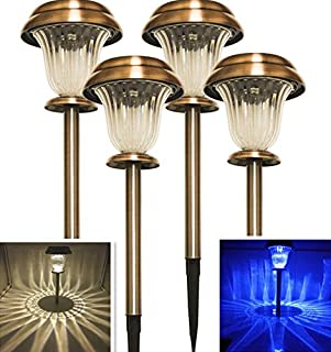 Solar Christmas Lights Decorations Outdoor Pathway Decorative Garden Stake Light Set Bright White Blue Dual Color LED Landscape Lighting Copper Driveway Stakes for Walkway Outside Yard Lawn 4Pack