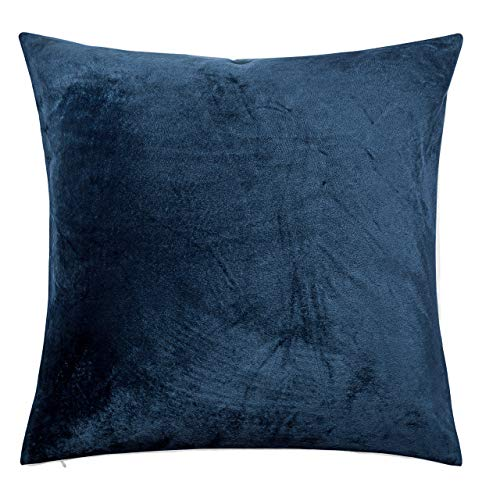 NTBAY Zippered Velvet Decorative Cushion Covers, 1 Pack Super Soft and Cozy Solid Color Square Pillowcases, 65x65 cm (26x26 Inch), Navy