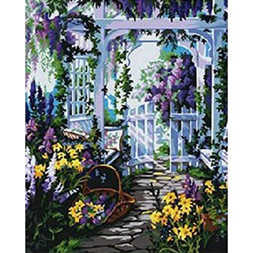 Kit de pintura por números para puerta de paisajes en lienzo, pintura al óleo por números, tamaño A8, 60 x 75 cm