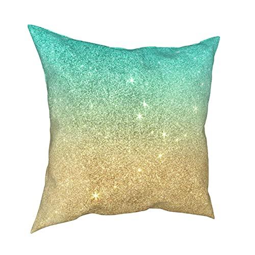Reebos Funda de almohada decorativa para sofá, silla, dormitorio, 45,7 x 45,7 cm, color azul turquesa