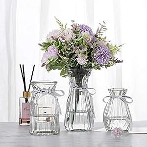 Silk Flower Arrangements JINGANREN Glass Vases Set Modern Angled Simple Style Clear Flower Glass Vases Set of 3 Size,for Home Living Room Aand Office Tabletop Decor Or Gift