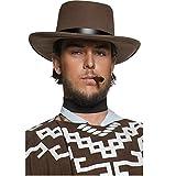 Smiffy'S 36336, Sombrero De Pistolero Errante Del Oeste Auténtico Con Borde para Hombre, Marrón, Talla Única