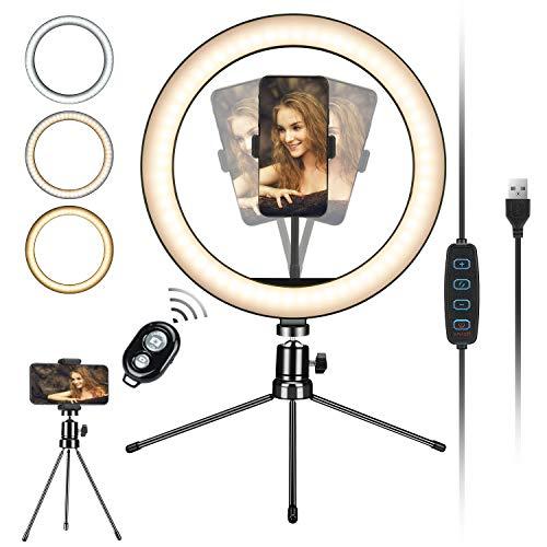 Selfie Ringlicht mit Stativständer und Handyhalter für Live-Stream/Make-up, Mini-LED-Kamera Ringlicht für YouTube Video/Fotografie Kompatibel mit iPhone XS Max XR Android (aktualisiert)