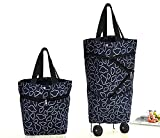 Collapsible Trolley Bags Folding Shopping Bag with Wheels Foldable...