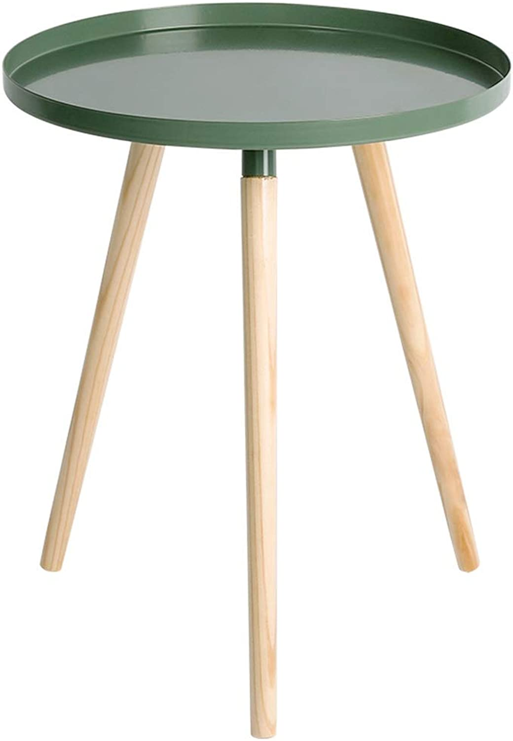 Small Coffee Table Solid Wood Corner Wrought Iron Mini Side, Simple Living Room Balcony, Green(44×44×50cm)