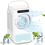 Portable Air Conditioner Fan, 600ML Personal Mini Evaporative Air Cooler with 3 Speeds & 2 Misting, Humidifier Misting Fan with LCD Display, Air Circulator Desk Fan for Home Office Bedroom, White