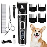 VOVO Dog Clippers Professional 3-Speed Low Noise Pet Grooming Kit Tools Rechargeable Cordless