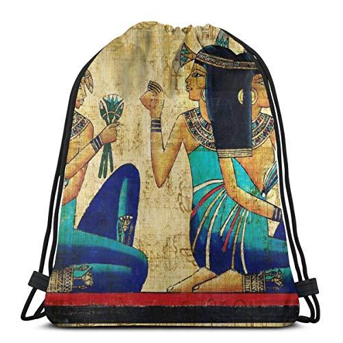 EU Ägyptische Hieroglyphen Frau Gym Sack Tasche Kordelzug Rucksack Sporttasche für Männer & Frauen Schulreiserucksack 36 x 43 cm / 14,2 x 16,9 Zoll