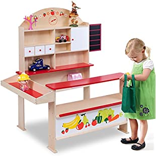 Costway Wooden Play Shops Children Toy Shop Corner Village Kids Supermarket Shopping Stall (Colorful):Viralbuzz