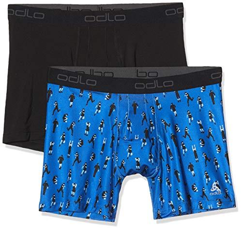 Odlo Suw Bottom Boxer Active Everyday 2 Pack Homme, Blue-Running AOP ss19-black, L